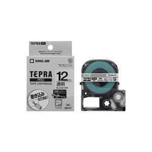 文具・オフィス用品 (業務用50セット) キングジム テプラPROテープマット透明/黒文字SB12T 【×50セット】