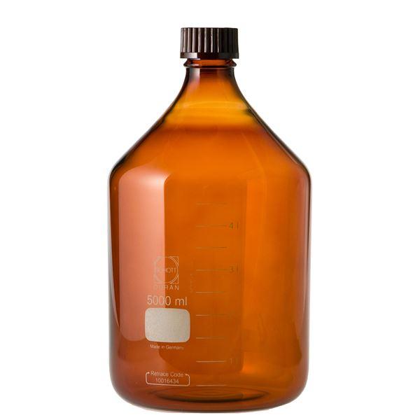 生活用品関連 ねじ口びん(メジュームびん) 茶褐色 赤キャップ付 5L 017210-50001