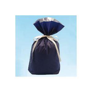 (業務用30セット) カクケイ 梨地リボン付き巾着袋 紺 M 20枚 FK2407 【×30セット】