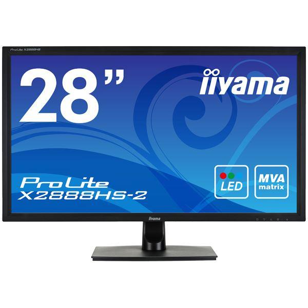 パソコン・周辺機器 関連商品 iiyama 28型ワイド液晶ディスプレイ ProLite X2888HS-2 (MVA、LED)マーベルブラック X2888HS-B2