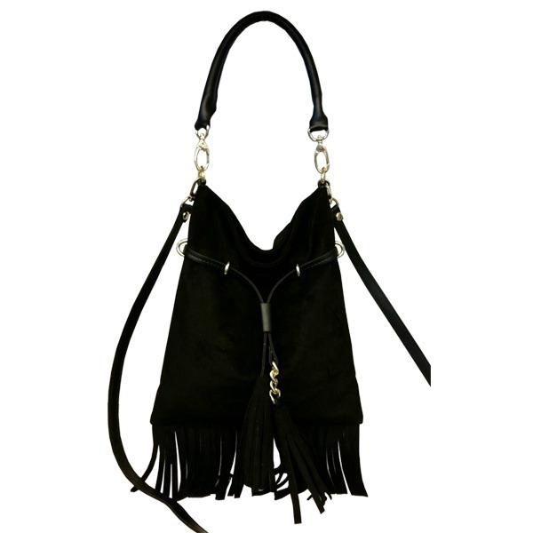 ファッション 落ち着いたカラー♪エレガントな雰囲気のフリンジたっぷりショルダーバッグ/ブラック