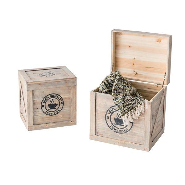 木製収納ボックス/小物収納箱 【大小2個セット】 Lサイズ/幅42cm Sサイズ/幅36cm CCR-403