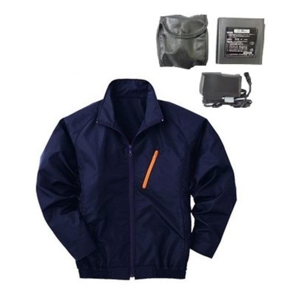 DIY・工具 空調服 ポリエステル製長袖ブルゾン P-500BN 【カラー:ネイビー サイズ XL】 リチウムバッテリーセット
