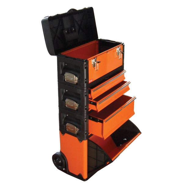 (業務用2個セット) TRAD 合体式ツールチェスト/ツールボックス 【5段】 キャスター付 TRD-TC5 オレンジ/黒 〔DIY/大工道具〕
