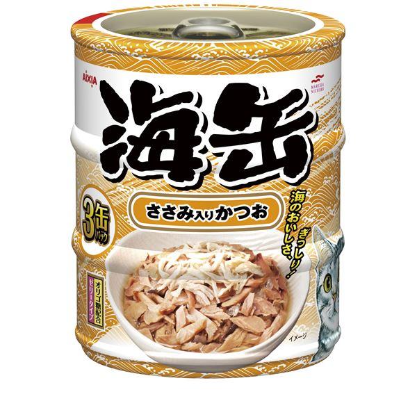猫用品 キャットフード・サプリメント 関連 (まとめ)アイシア 海缶ミニ3P ささみ入りかつお 60g×3 【猫用・フード】【ペット用品】【×24セット】