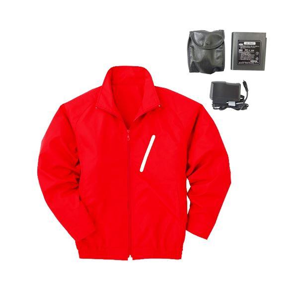 DIY・工具 空調服 ポリエステル製長袖ブルゾン P-500BN 【カラー:レッド(赤) サイズ L】 リチウムバッテリーセット