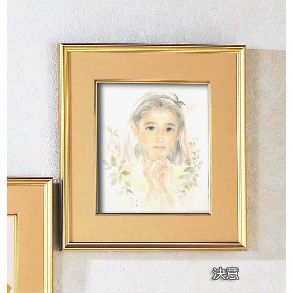 絵画 関連商品 色紙額縁セット/金フレーム 【421mm×390mm×31mm】 「決意」 壁掛け用/ひも付き