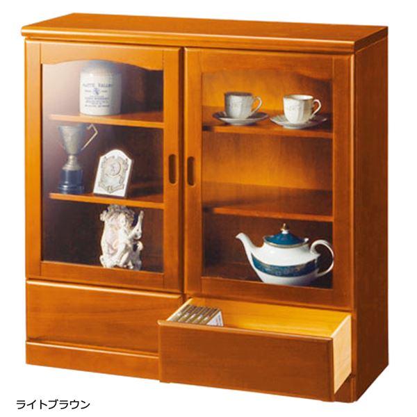 ガラス扉付きサイドボード 木製(天然木) 【2:幅90cm/2杯】 ライトブラウン
