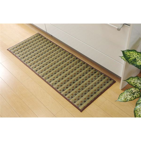 キッチンマット 270 い草ドット柄 グリーン 『ドロップ』 約80×270cm (裏面:滑りにくい加工)