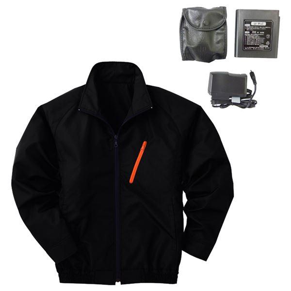 スポーツ・レジャー 空調服 ポリエステル製長袖ブルゾン P-500BN 【カラー:ブラック サイズXL】 リチウムバッテリーセット
