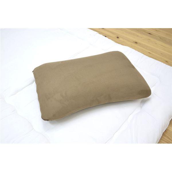 ピロー 洗える 低反発 やわらかい 枕 ブラウン 約40×60cm