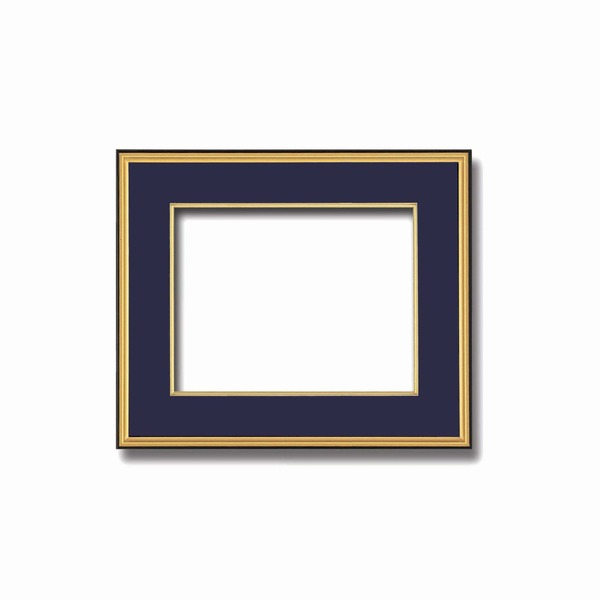 インテリア・家具関連商品 【和額】黒い縁に金色フレーム 日本画額 色紙額 木製フレーム ■黒金 色紙F4サイズ(333×242mm) 紺
