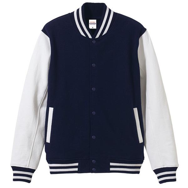 メンズジャケット 関連商品 12.0オンス ヘヴィーウェイト 裏起毛スウェット スタジアム ジャケット ネイビー/ホワイト S