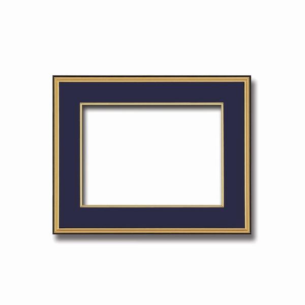 インテリア・家具関連商品 【和額】黒い縁に金色フレーム 日本画額 色紙額 木製フレーム ■黒金 色紙F6サイズ(410×318mm) 紺