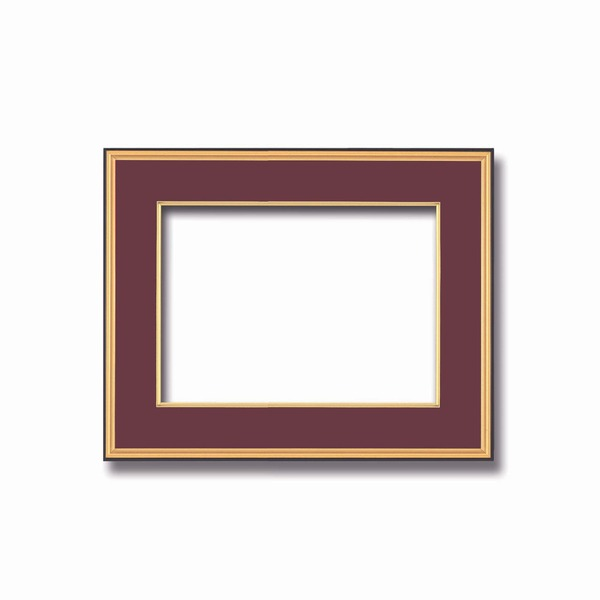 インテリア・家具関連商品 【和額】黒い縁に金色フレーム 日本画額 色紙額 木製フレーム ■黒金 色紙F6サイズ(410×318mm) エンジ