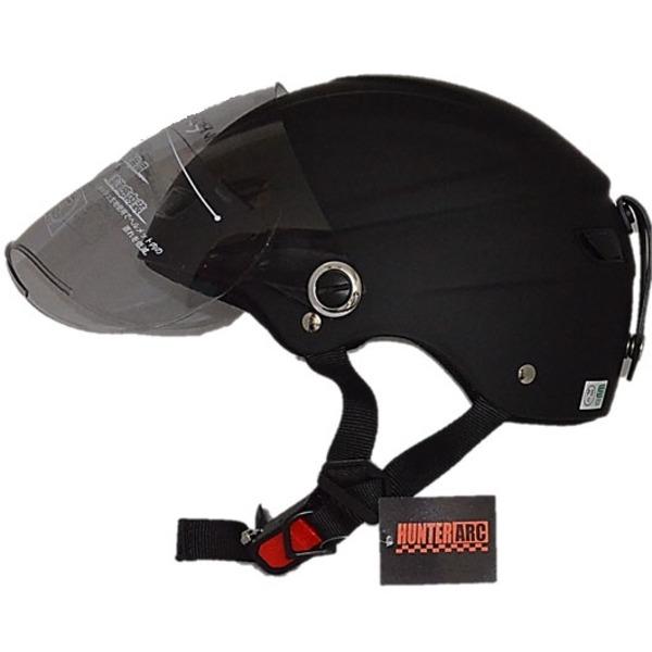 自転車(スポーツバイク)関連商品 スタイリッシュな開閉式シールド付きハーフヘルメット マットブラック