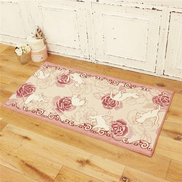 キッチン・食器 関連商品 キャット&ローズ抗菌防臭撥水ロングマット ピンク 約65×340cm