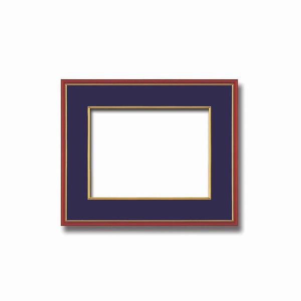インテリア・家具関連商品 【和額】赤い縁に金色フレーム 日本画額 色紙額 木製フレーム ■赤金 色紙F4サイズ(333×242mm) 紺
