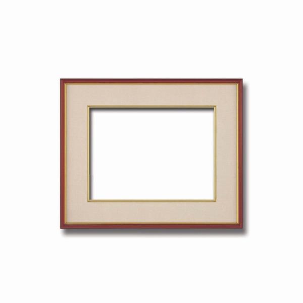 インテリア・家具関連商品 【和額】赤い縁に金色フレーム 日本画額 色紙額 木製フレーム ■赤金 色紙F4サイズ(333×242mm) ベージュ