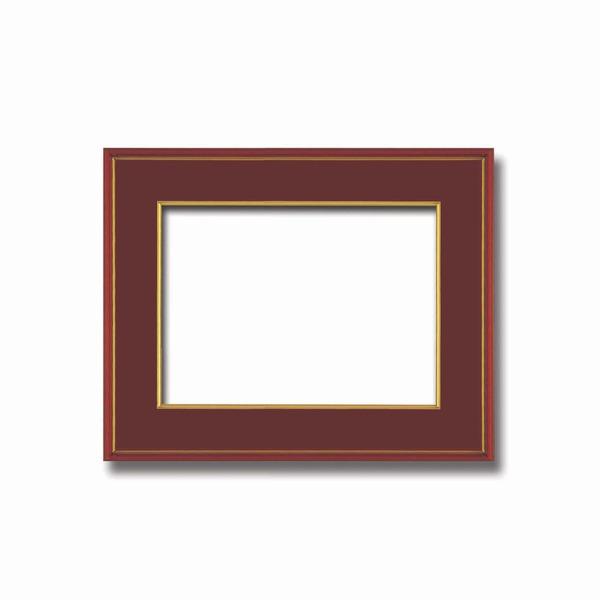 アート・美術品・骨董品・民芸品 絵画 関連 生活用品・インテリア・雑貨関連商品 【和額】赤い縁に金色フレーム 日本画額 色紙額 木製フレーム 赤金 色紙F6サイズ(410×318mm) エンジ