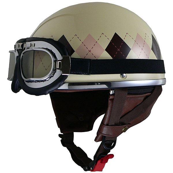 バイク用品 関連商品 レディースハーフヘルメット QH4 ARGYLE(IV・アーガイル) フリー (57~58cm未満)