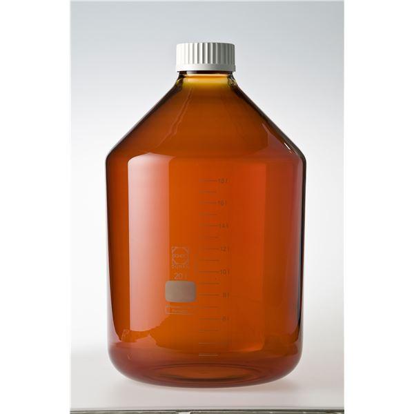 科学・研究・実験 関連商品 ねじ口びん 広口 茶褐色 白キャップ付 20L
