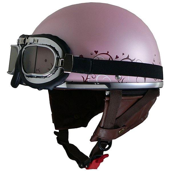 バイク用品 関連商品 レディースハーフヘルメット QH4 FLOWER(PI・フラワー) フリー (57~58cm未満)