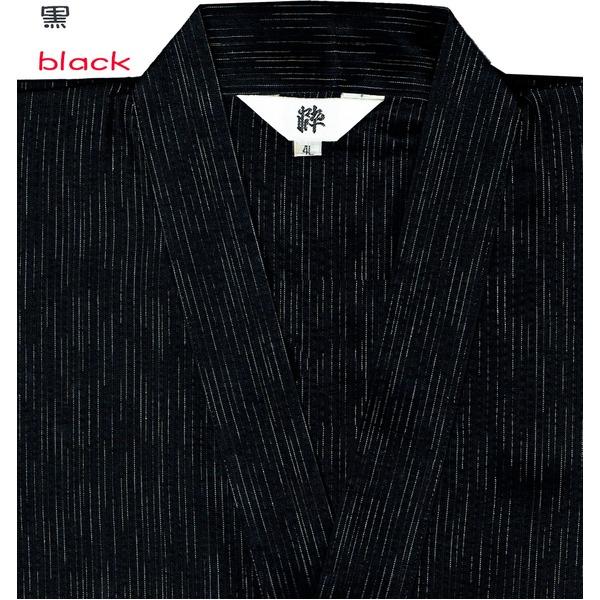 レディースファッション 和服 浴衣 関連 風神雷神の手書き絵・しじら織甚平キングサイズ黒4L