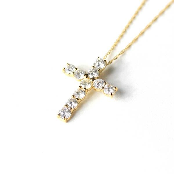 レディースネックレス・ペンダント 関連 18金イエローゴールド 1ct ダイヤモンド クロスペンダント