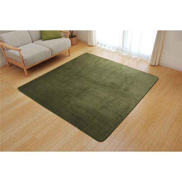 ラグ カーペット 4畳 洗える 抗菌 防臭 無地 『ピオニー』 グリーン 約200×300cm (ホットカーペット対応)