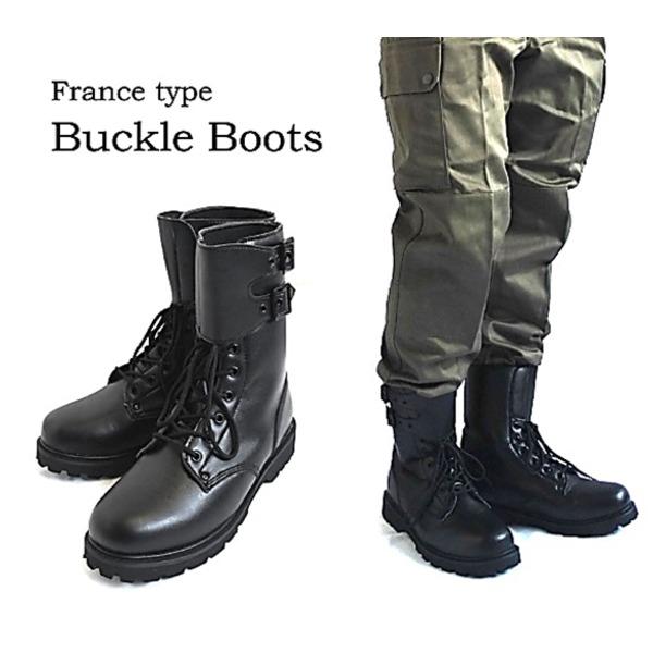 スポーツ・アウトドア 登山・トレッキング 靴・ブーツ 関連 フランス軍バックル式コンバットセミロングブーツレプリカ 40(24cm)