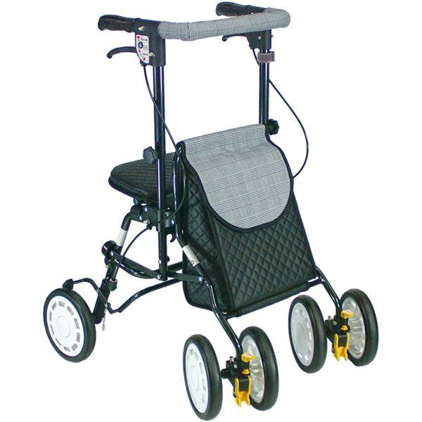 シルバーカー 歩行車/アクティブピッチ 杖立て/反射機能付き 高さ5段階調整可 [歩行補助用品/介護用品] ブラック(黒)