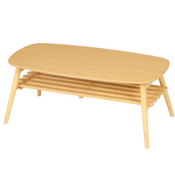 木目調オシャレな折りたたみテーブル/ローテーブル 【ナチュラル】 幅100cm×奥行50cm×高さ40cm 収納棚付き