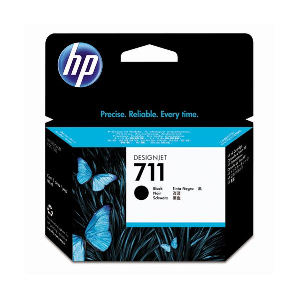 (まとめ) HP711 インクカートリッジ ブラック 80ml 顔料系 CZ133A 1個 【×3セット】