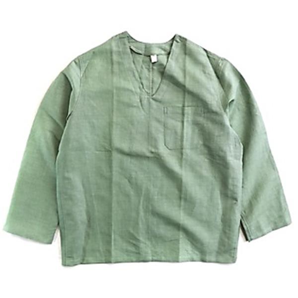 ミリタリー関連商品 ハンガリー軍放出メヂカルパジャマシャツ リネン ミントグリーン 48