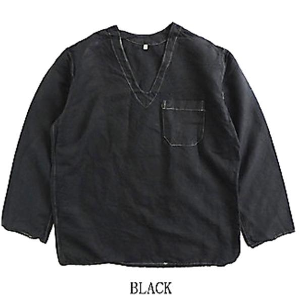ミリタリー関連商品 ハンガリー軍放出メヂカルパジャマシャツ リネン ブラック染め 48