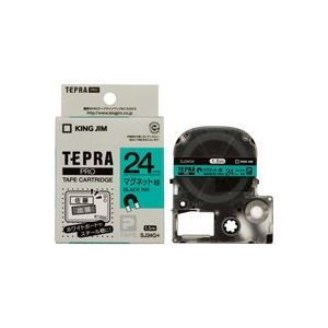 文具・オフィス用品 (業務用20セット) キングジム テプラ PROテープマグネット SJ24G 緑に黒文字24mm 【×20セット】