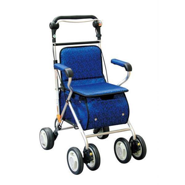健康器具 シルバーカー/ハーベストウォーカー(3) 反射機能/杖ホルダー付き プラムネイビー [歩行補助用品/介護用品]