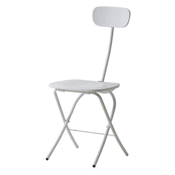 フォールディングチェア/折りたたみ椅子 【ホワイト】 高さ85cm スチールフレーム 木目調 PC-21WH
