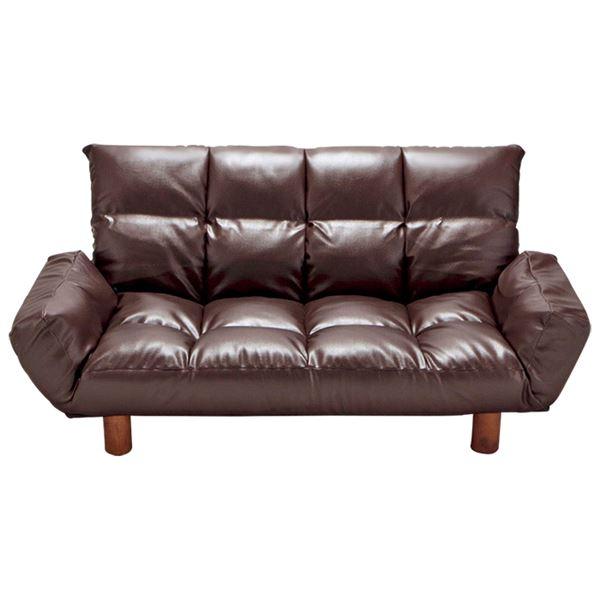 生活日用品 ふっくらリクライニングソファー 【ダークブラウン】 2人掛け 肘付き 背部6段階リクライニング