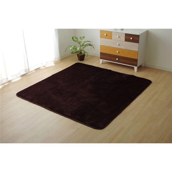 ラグマット関連 ラグマット カーペット 2畳 低反発 抗菌 防臭 無地 ブラウン 約185×185cm (ホットカーペット対応)
