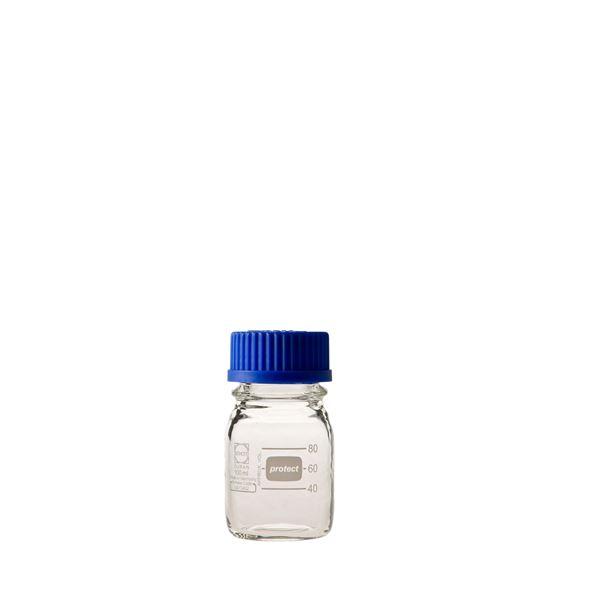 科学・研究・実験 関連商品 ねじ口びん セーフティコート 青キャップ付 100mL【10個】
