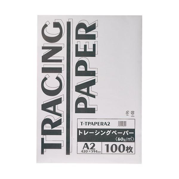 文具・オフィス用品 (まとめ) TANOSEE トレーシングペーパー60g A2 1パック(100枚) 【×5セット】