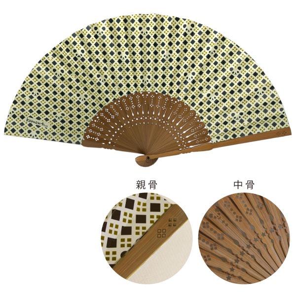 レディースファッション 和服 和装小物 関連 komon+ 和紙扇子70型25間【3本セット】パンダ格子