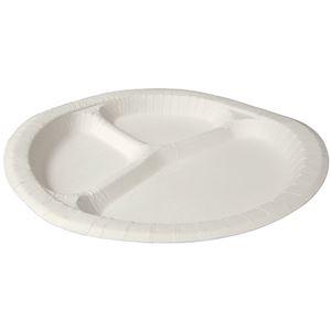 キッチン・食器 (まとめ) ペーパーウエア ナチュラルパルププレート 仕切付 24cm NSP-24 1パック(50枚) 【×3セット】