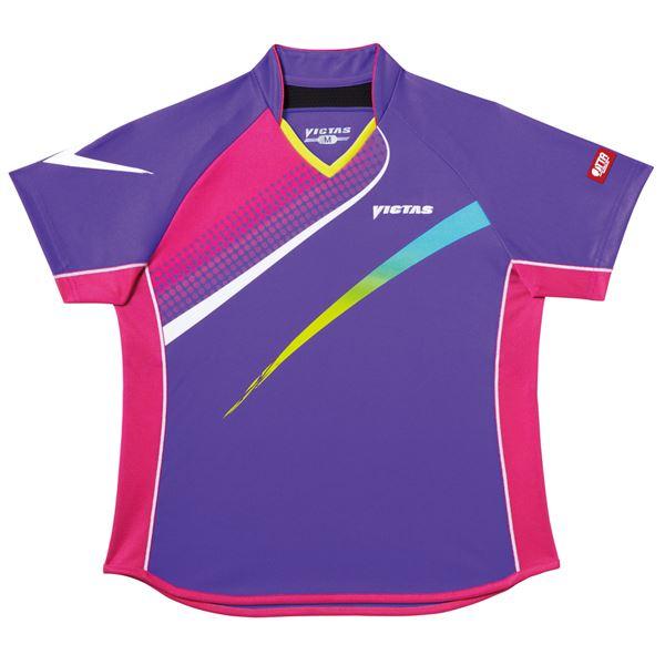 スポーツ・アウトドア 卓球 関連 ヤマト卓球 VICTAS(ヴィクタス) 卓球アパレル V-LS029 Viscotecs ゲームシャツ(女子用) 031457 パープル XXOサイズ