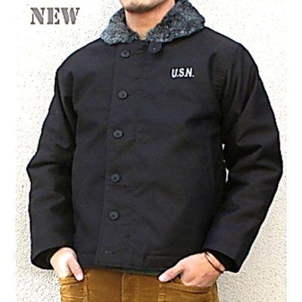 フライトジャケット・ミリタリージャケット 関連商品 USタイプ 「N-1」 DECK ジャケット ブラック(裏ボアグレー)36(M)サイズ【レプリカ】