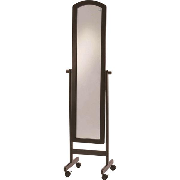 インテリア・寝具・収納 鏡 スタンドミラー 関連 ハーフサークルミラー 3ミリDBR(ダークブラウン) 飛散防止加工/姿鏡/キャスター付き 【組立品】