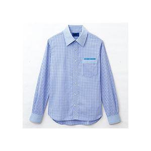 日用品雑貨 (まとめ) セロリー 大柄ギンガムチェック長袖シャツ Sサイズ サックス S-63412-S 1枚 【×2セット】