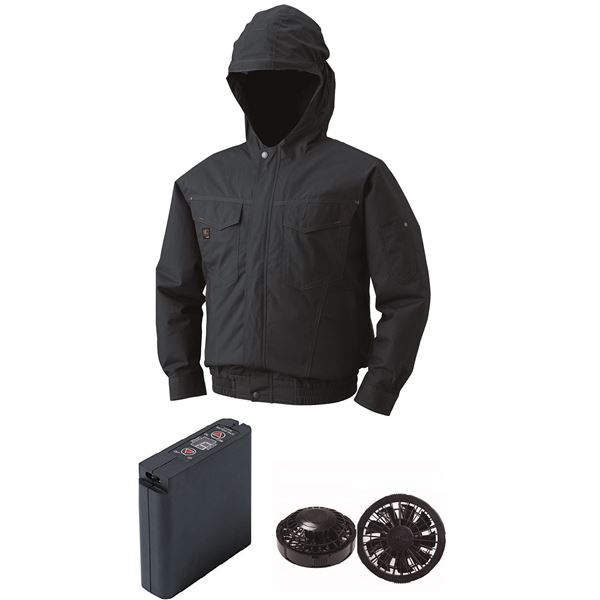 空調服 フード付綿薄手空調服 大容量バッテリーセット ファンカラー:ブラック 1410B22C69S5 【カラー:チャコール サイズ:XL 】